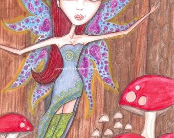 big eyes girl, print, toadstools, mushrooms, woodland fairy, enchanted forest