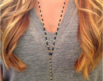 Rosary Style Beaded Quartz Crystal Necklace - Stone Necklace