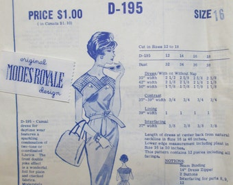 Modes Royale D195 50s Casual Dress Sewing Bust 36 with Modes Royale Label