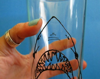 Shark Week Fan Beer Glass 3D Paint