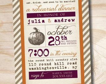 VINTAGE POSTER  Pumpkin Engagement/Rehersal Dinner Party Invitation - Printable digital file or printed invitations