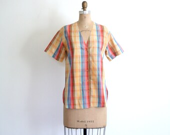 SALE    golden yellow 1970s shirt - short sleeve blouse / Rainbow Plaid - striped / vintage 70s