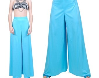 High Waist Wide Leg Pants - Vintage 70s Hippie Bell Bottoms - Baby Blue Retro Pants - Extra Small