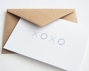 XOXO Greeting Card -- Note Card -- Thinking of You -- Thanks -- Love You --  Set of 1 card & envelope
