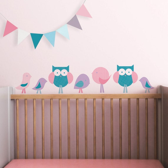 baby wall decal owl baby nursery decor wall sticker pink teal
