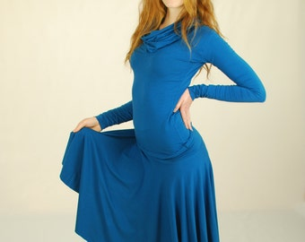 Organic Skirt - Circle Skirt - Organic Clothing - Blue - Eco Friendly Skirt for Women
