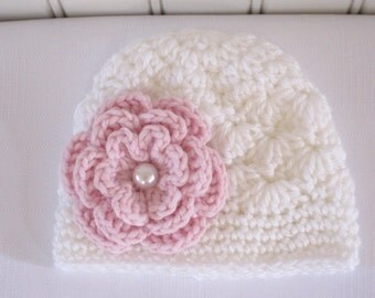 Baby Hat - Crochet Girls Hat - Newborn Hat - Toddler Hat - Baby Girls Hat - White Hat with Pink Flower in sizes Newborn to 3 Years