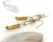 SWARAVSKI BULLET EARRINGS - brass bullet casings - gold and green - bullet jewelry - eco-friendly/upcycled jewelry - under 25.00