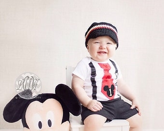 Newsboy hat visor brim mickey mouse Four Color Three Newsboy Hat with Visor Brim- Cotton Made to Order black white yellow red