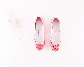 leather ballet flats. red polka dot...made to order