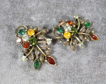 Vintage CORO Designer Earrings, Fall Colors,Floral Earrings Signed Coro