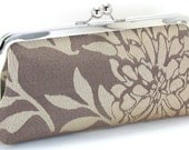 Evening Bag Clutch - Champagne Taupe Flower  Bridesmaid Handbag - Floral Metal Frame Purse - Bagboy