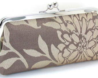 Evening Bag Clutch - Champagne Taupe Flower  Bridesmaid Handbag - Floral Metal Frame Purse - Bagboy