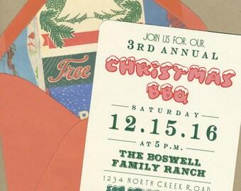 Christmas BBQ Party Invitations