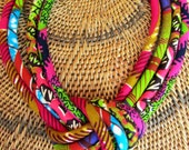 African wax BIB Necklace/ Fabric cord knot necklace/ purple, pink, green, Colorful