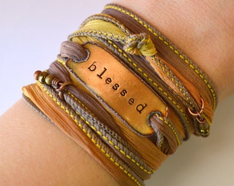 Blessed wrap bracelet, silk wrap bracelet, BLESSED, bohemian, boho wrap, under 50, mom gift, silk bracelet, BOHO