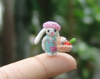 miniature crochet 0.6 inch micro stuffed  bunny - art dollhouse amigurumi animal
