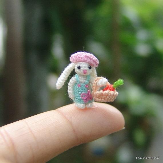 miniature crochet 0.6 inch micro stuffed bunny art