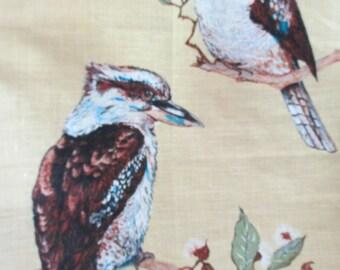 Vintage Printed Souvenir Kitchen Towel - AUSTRALIA Kookaburra Kingfisher Bird Linen UNUSED Q123