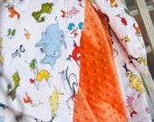 Dr. Seuss Minky Baby Blanket Designer Cat in the Hat Orange Blue Green - Name Available - The Lorax
