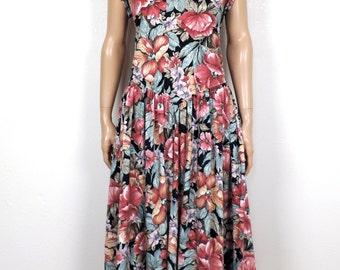 Large 90s Vintage Floral Sundress~ Jersey Cotton Low Back Dress~ L