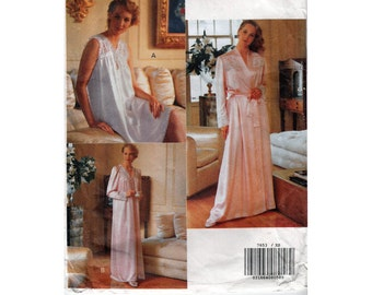 "Romantic Peignoir Sewing Pattern Nightgown and Robe Lovely Night Wear for Bridal Trousseau 80s Size 6-14 Bust 30.5-36"" (78-92 cm) Vogue 765"