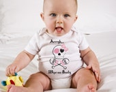 Funny Baby Onesie - Wipe Me Booty - Baby Girl Diaper Shirt