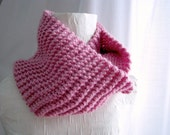 Jewel Pink Chunky Knit Long Double Wrap Cowl Warm Autumn Winter Layers One Size Fits All