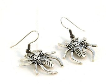 Spider Earrings on Hooks or Clip Ons - Creepy Halloween Jewelry