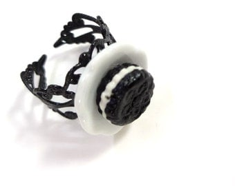 Oreo Cookie with Cream Ring Miniature Food Jewelry