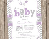 Lavender Purple and Grey baby shower invitation, chevron invitation, girl baby shower invitation, hearts, typography, printable invitation