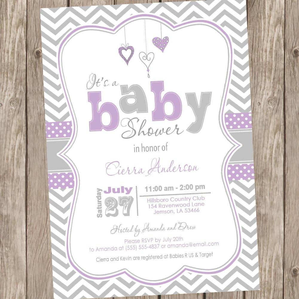 Lavender Purple And Grey Baby Shower Invitation Chevron