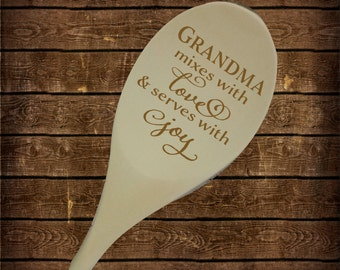 Mixes with love & serves with Joy Personalized Wood Spoon Birthday Gift, Housewarming, Christmas Grandma Mom engraved Spoon SP0102