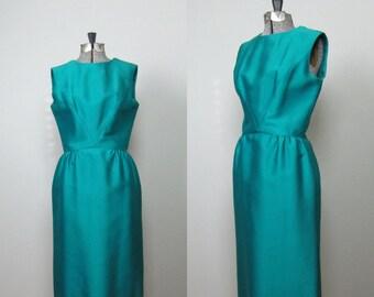 Vintage 1960s Wool Silk Evening Dress. 1960s Joseph Magnin Wiggle Dress. 1960s Cocktail Dress