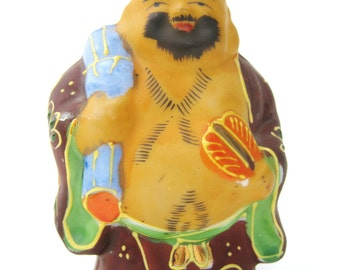 "Satsuma Moriage Happy Buddha 3"" Figurine ~ Made in Japan"