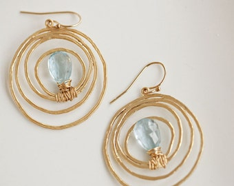 Wythe Gold Plated Circle Earrings with Swiss Blue Topaz