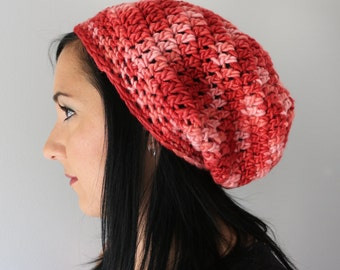 Red Slouchy Hat, Hand Dyed Pure Merino Soft Slouchy Beanie Hat in Mixed Reds and Pink, Fashion Accessories
