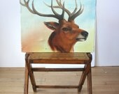 Vintage Stag Head Painting: Oil Portrait