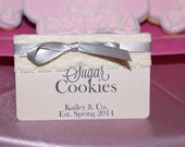 Pink Baby and Co Bride and Co dessert/food tent cards