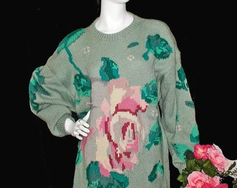 1980s Roberta Frost 100% Wool Intarsia Sweater With Roses Size L or XL