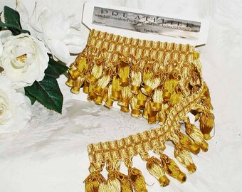 "Gold/Ivory Stylized Tassel Trim 1 Yard 23"" Length"