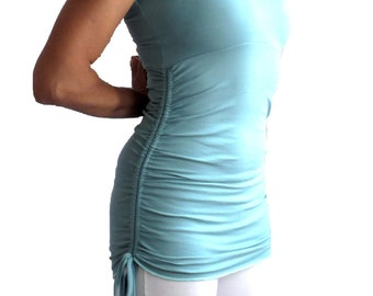 XS Turquoise Yoga Top Tank Ruched Shirred Drawstring Side Sky Blue Robins Egg