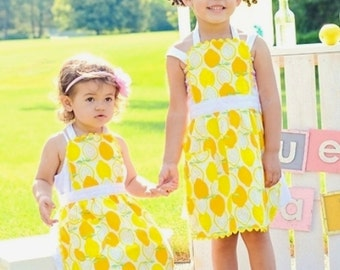 Mother Daugher Apron Set,, Lemon Apron,  Lemonade Stand Apron, Toddler & Kids Full Apron, Adult Full Apron, All Sizes