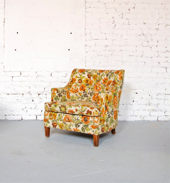 Mid Century Retro Orange Floral Petite Club Chair Made In