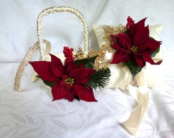 Winter wedding flower girl basket ring bearer pillow set bridal accessories