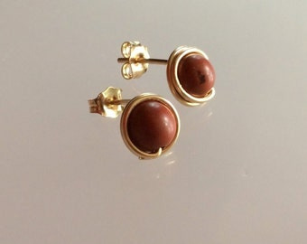 9mm Gold-filled handmade post earrings - Red Jasper gemstone stud earrings - Healing stone - Free shipping to CANADA and USA