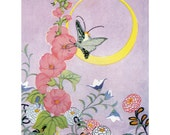 Fairy Rides Moth under Moon Greeting Card - Repro Janet Laura Scott