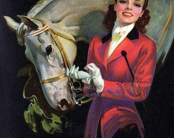Girl with Horse Print - Roy Best Pinup Girl - Riding to Hounds