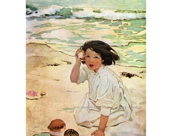 Girl with Seashell at the Beach Greeting Card - Repro Jessie Willcox Smith
