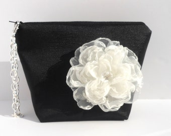 Black Satin Purse with Ivory Organza Flower pin with Silver Chain Wristlet Strap